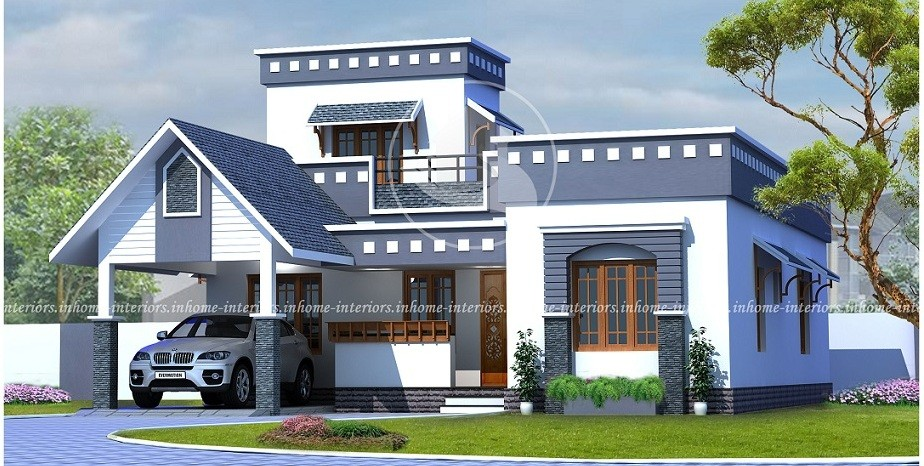 1365 square feet single floor contemporary home design and for Single floor modern house