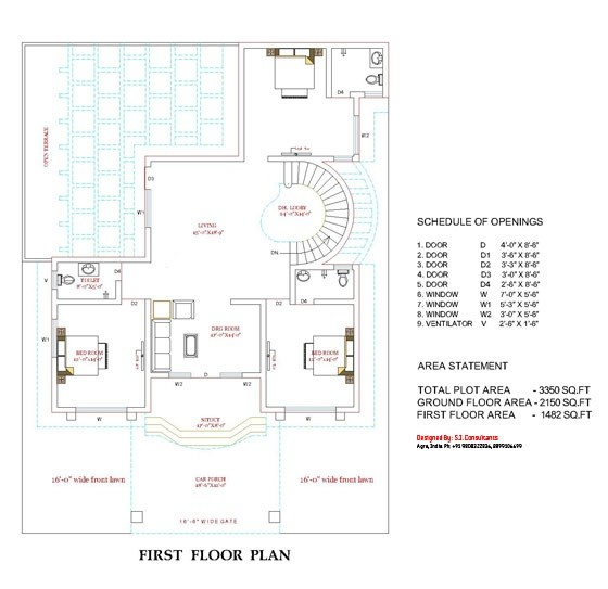 3350 Square Feet 5 Bedroom Luxury Double Floor Home Design and Plan