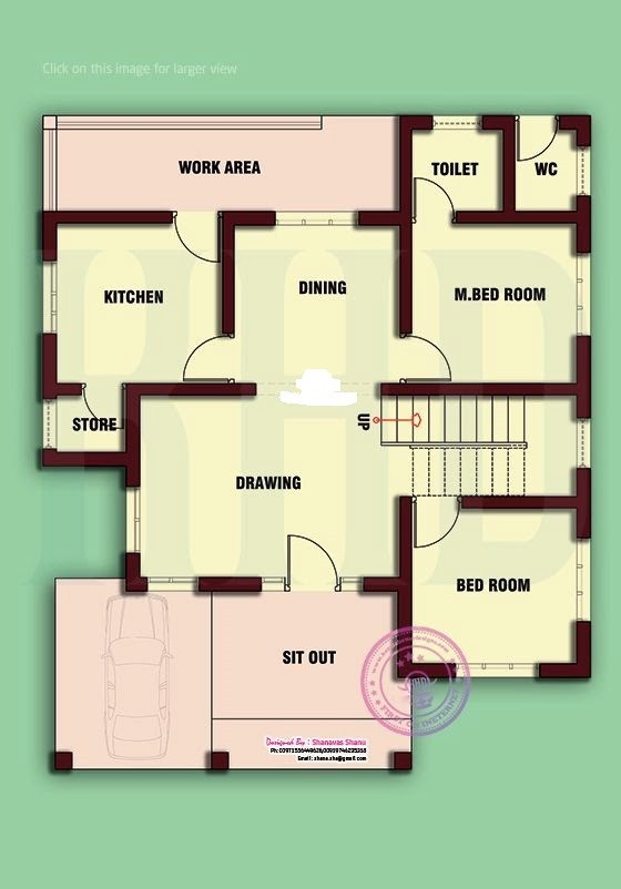 1050 square feet 2 bedroom low budget home design and plan for Home design in 6 cent
