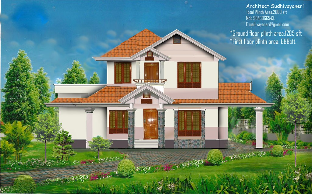 2000 Square Feet 4 Bedroom Beautiful Home Design and Elevation