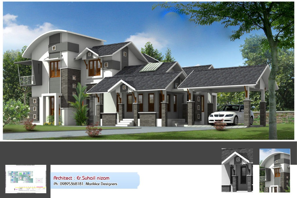 2222 Square Feet 3 Bedroom Contemporary Style Kerala Home Design and Plan