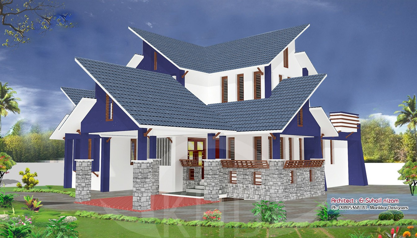 2302 square feet 4 attached bedroom kerala home design and for 4 bedroom kerala house plans and elevations