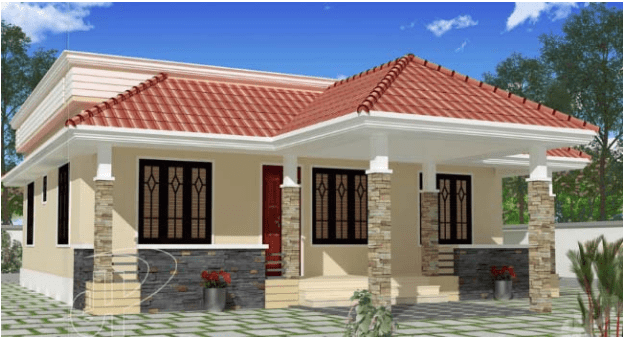 1100 square feet 3 bhk low budget small elevation kerala for Small budget house plans in kerala