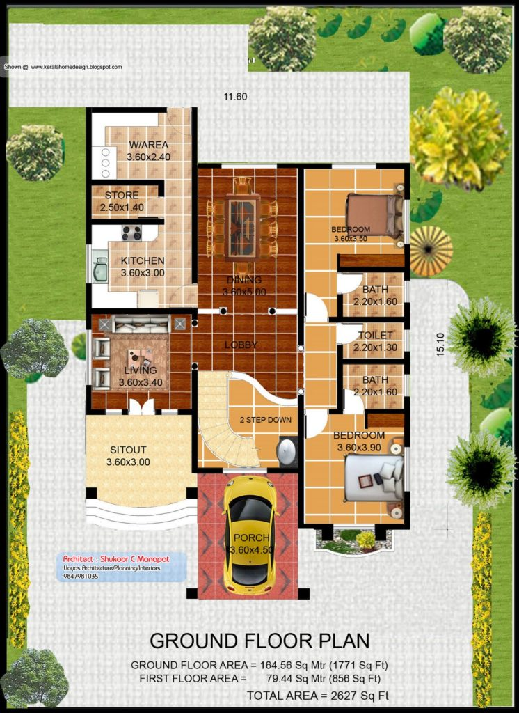 2627 Square Feet 4 Attached Bedroom Home Design and 3D Plan