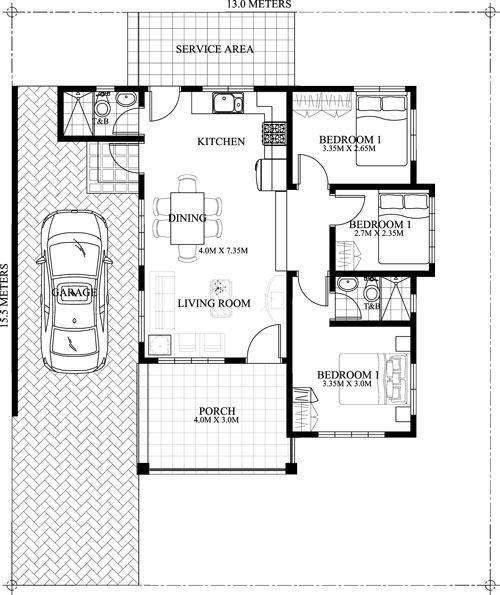 1000 Square Feet 3 Bedroom Single Floor Home Design and Plan