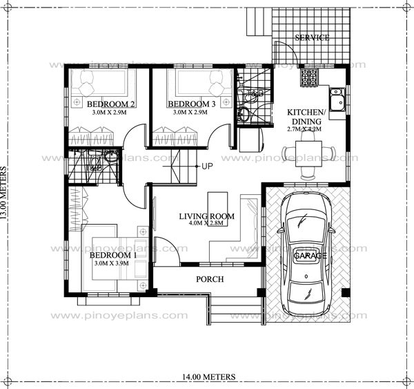 1500 Square Feet 3 Bedroom Modern Home Design and Plan