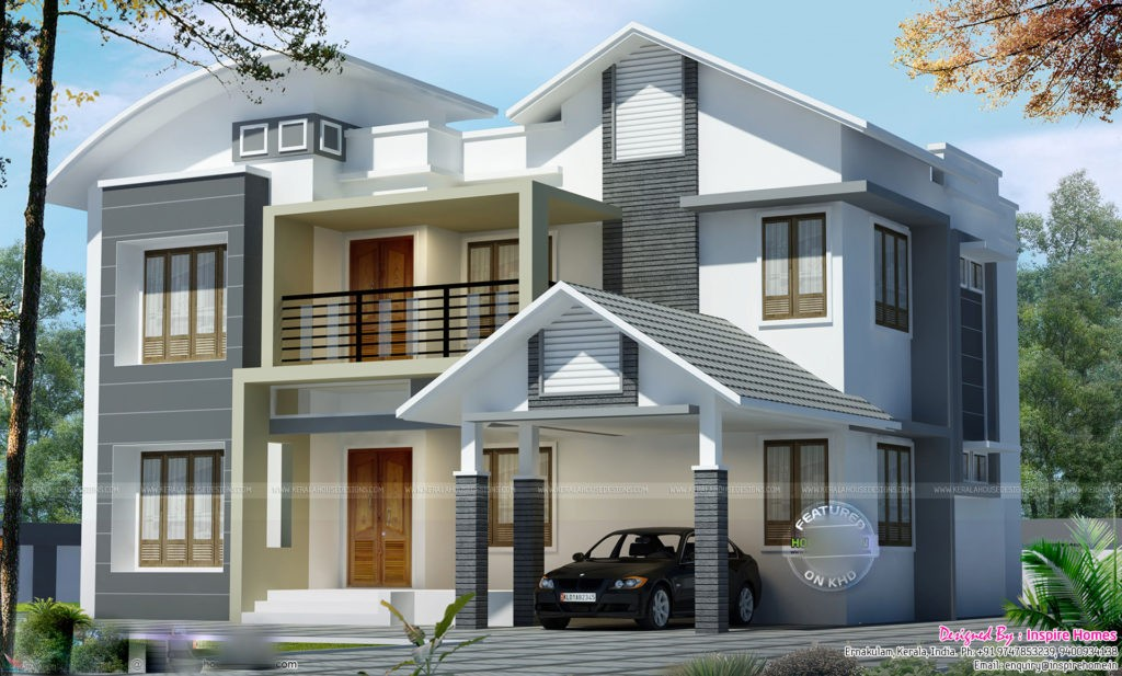 2965 square feet 5 bedroom double floor amazing luxury for Curved roof house plans