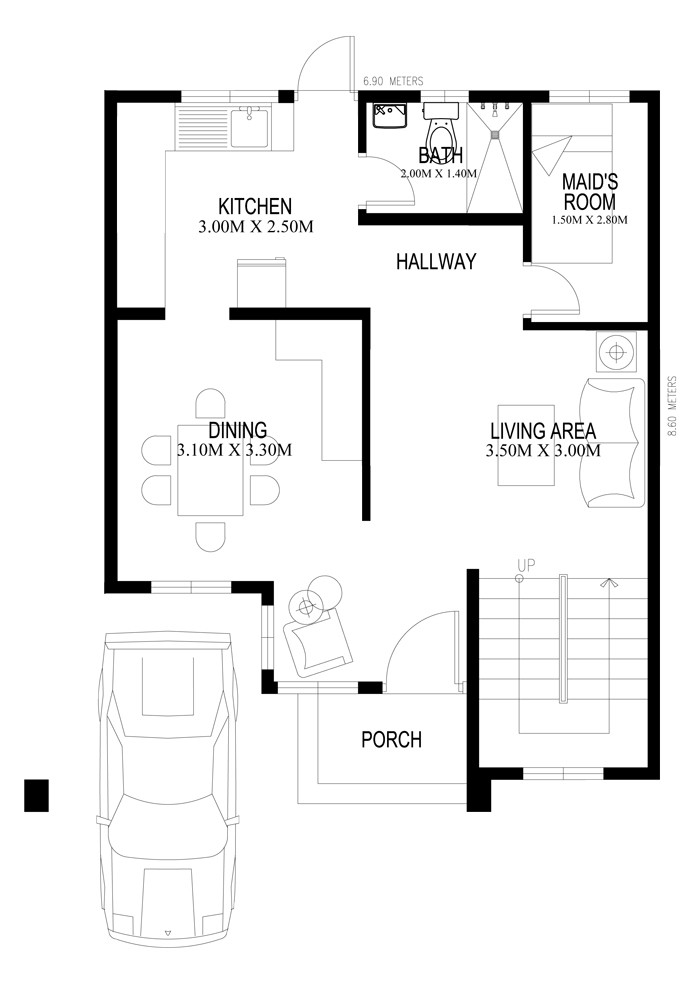 2400 Square Feet 3 Bedroom Contemporary Home Design and Plan