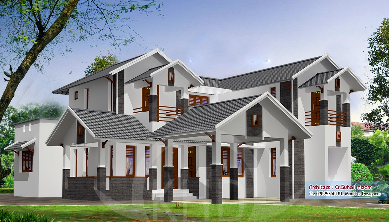 2367 Square Feet 4 Attached Bedroom Contemporary Home Design and Elevation