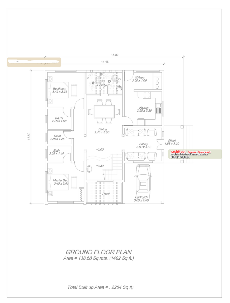 2254 Square Feet 4 Attached Bedroom Luxury Home Design and Elevation