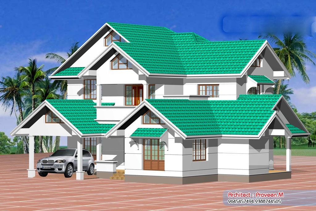 2800 Square Feet 6 Bedroom Double Floor Sloping Roof Kerala Style Home Design and Plan