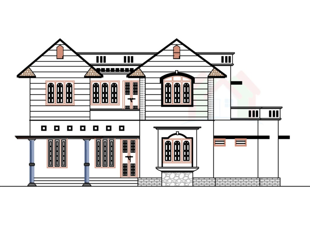 2226 Square Feet 5 Bedroom Double Floor Home Design and Plan