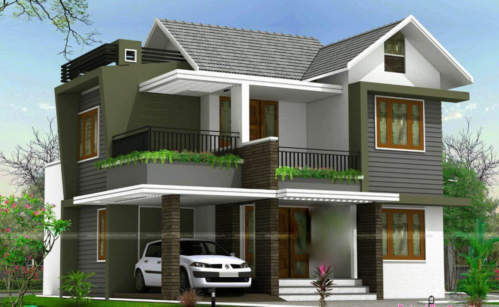 1738 square feet 4 bedroom double floor sloping roof home for Sloped roof house plans in india