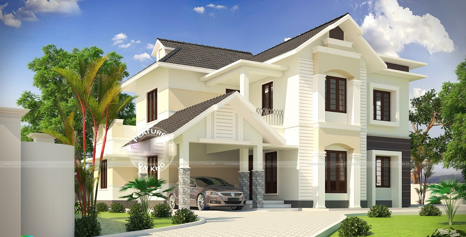 2362 Square Feet Modern Sloping Roof Double Floor Home Design and Plan