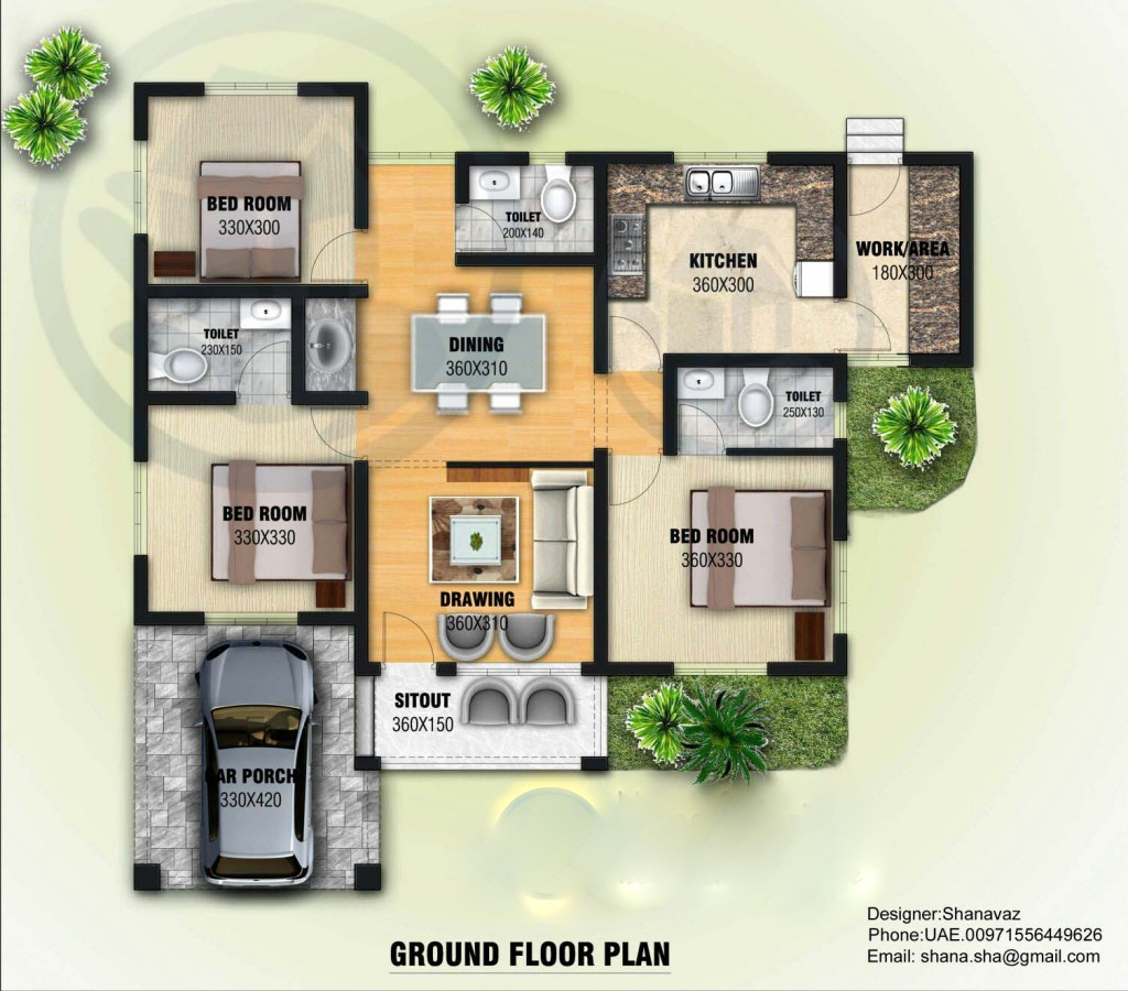 Home Design 3d Tips: 1300 Square Feet 3 Bedroom Single Floor Contemporary Home