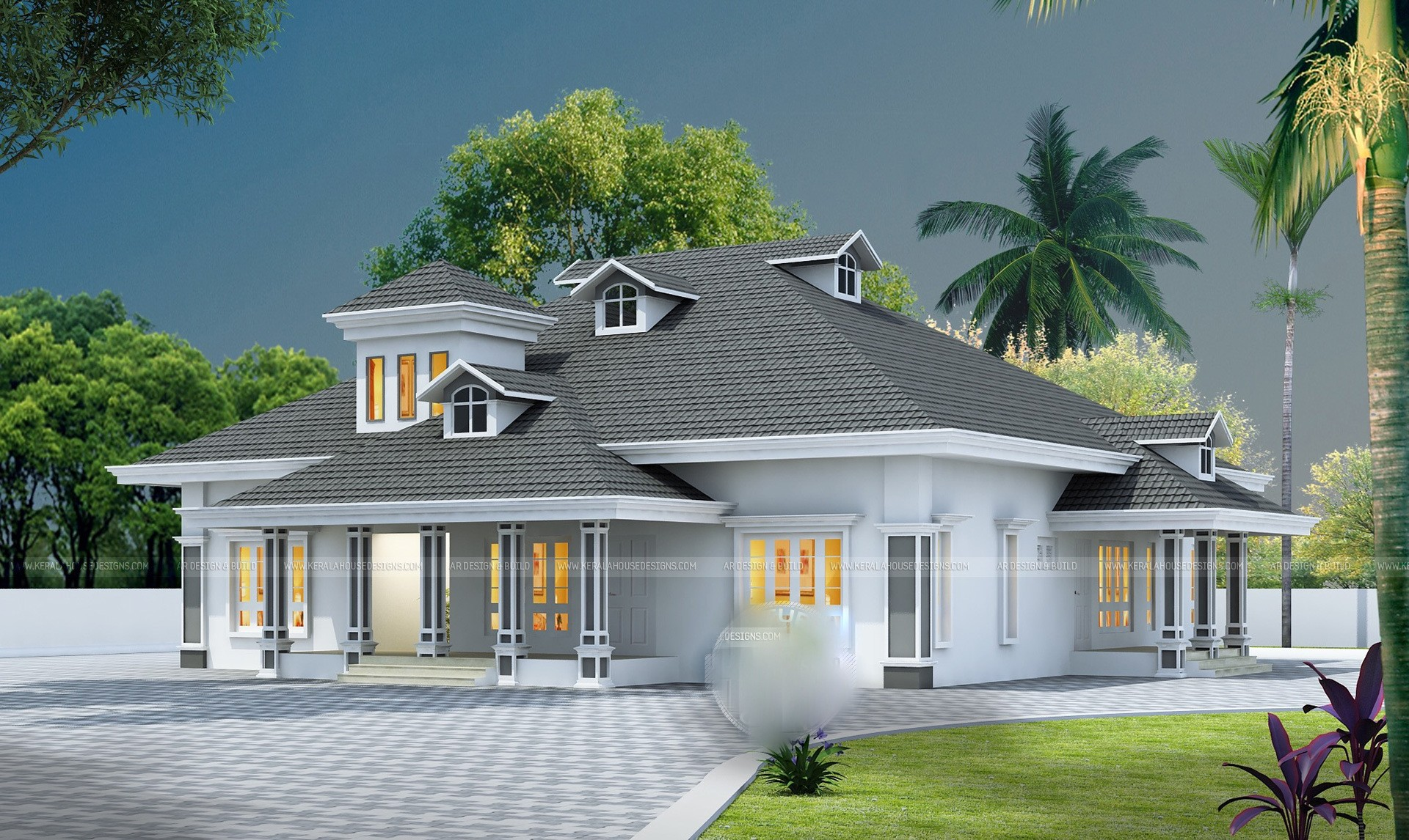 3d elevation - 44+ Beautiful 4 Bedroom Single Floor House Plans Kerala Style Pictures