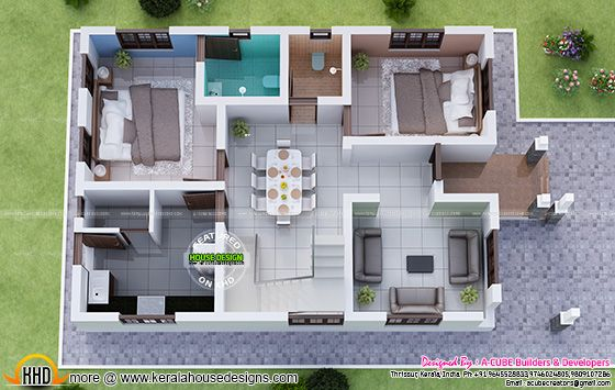 1730 Square Feet 3 Bedroom Double Floor Sloping Roof Home Design And 3D Plan
