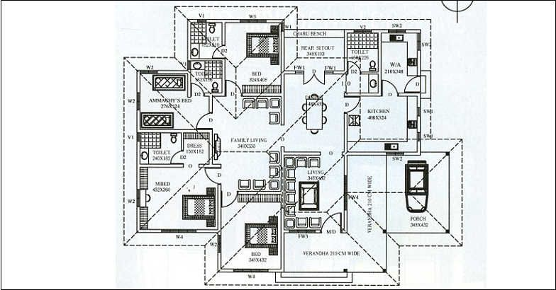 2368 Square Feet 3 Bedroom Single Floor Home Design and Plan