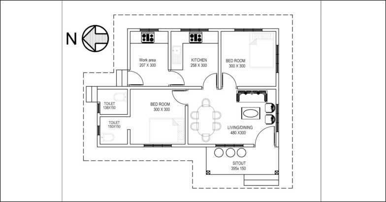 700 square feet 2 bedroom low budget home design for 10 for 700 sq ft home plans