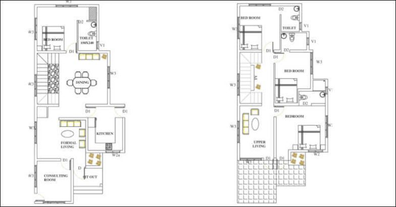 2350 Square Feet 4 Bedroom European Style Double Floor Home Design and Plan