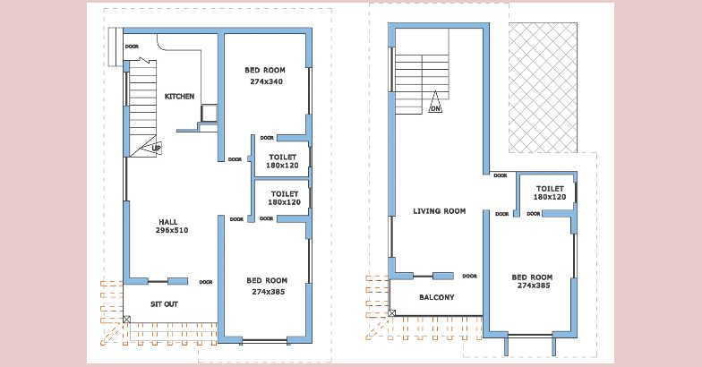 1232 square feet 3 bedroom double floor low budget home design and plan at 4 cent