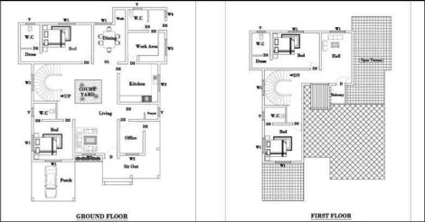 2850 Square Feet 4 Bedroom Double Floor Sloping Roof Home Design and Plan