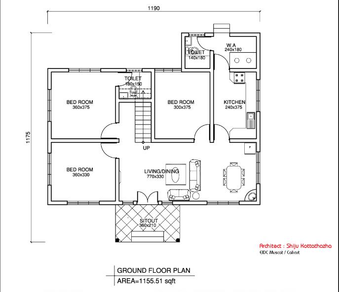 Rectangular Kerala Home Plans Design Low Cost 976 Sq Ft