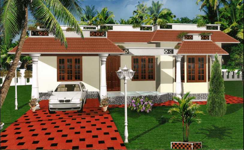 1320 square feet 3 bedroom single floor low budget home for Bedroom designs low budget