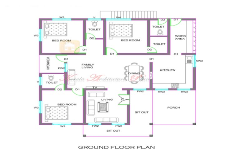 1300 Square Feet 3 Bedroom Single Floor Home Design and Plan