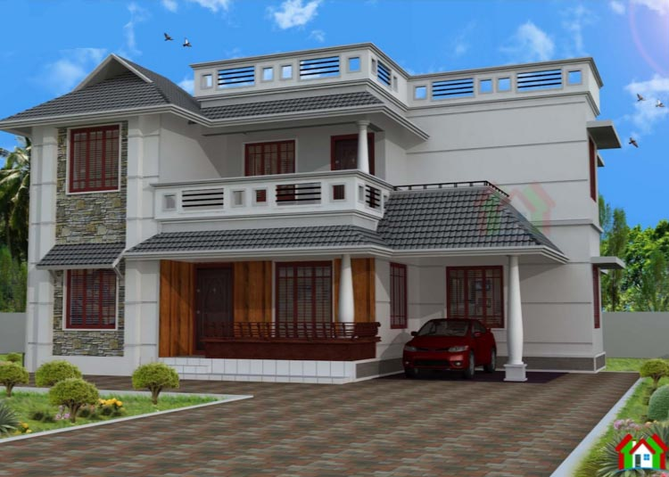 2400 square feet 4 attached bedroom double floor sloping roof home design and plan home - Houses atticsquare meters ...