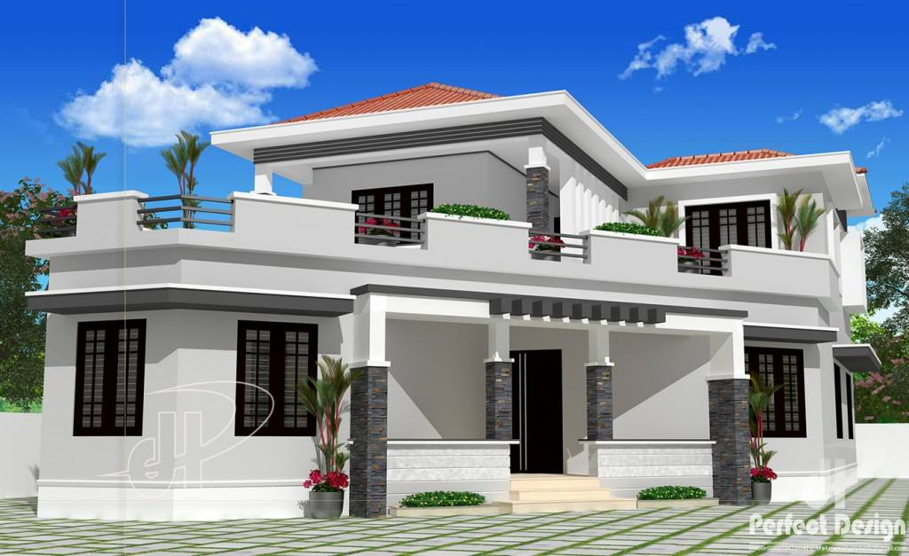 1987 Square Feet 4 Bedroom Modern Double Floor Home Design and Plan