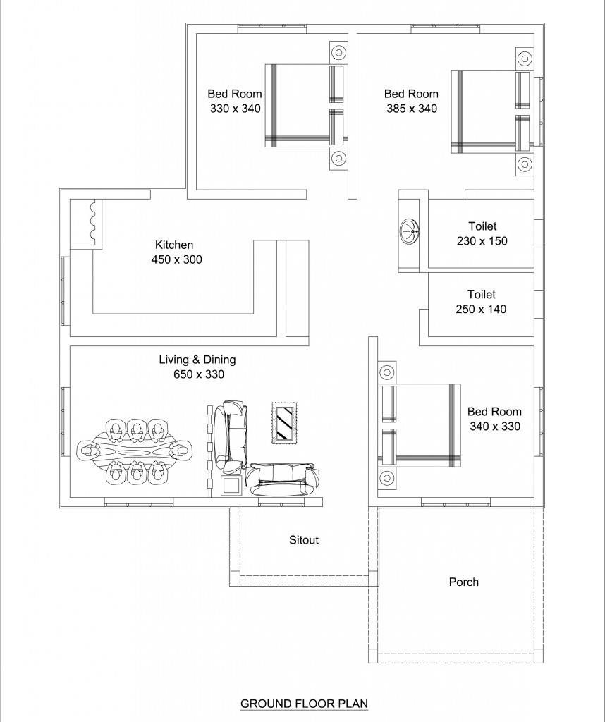 1100 square feet 3 bedroom low budget home design and plan for Low budget modern 3 bedroom house design