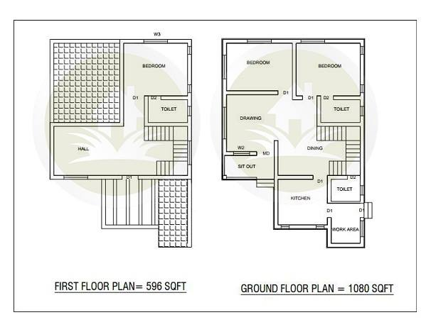 1676 Square Feet 3 Bedroom Two Story Home Design and Plan