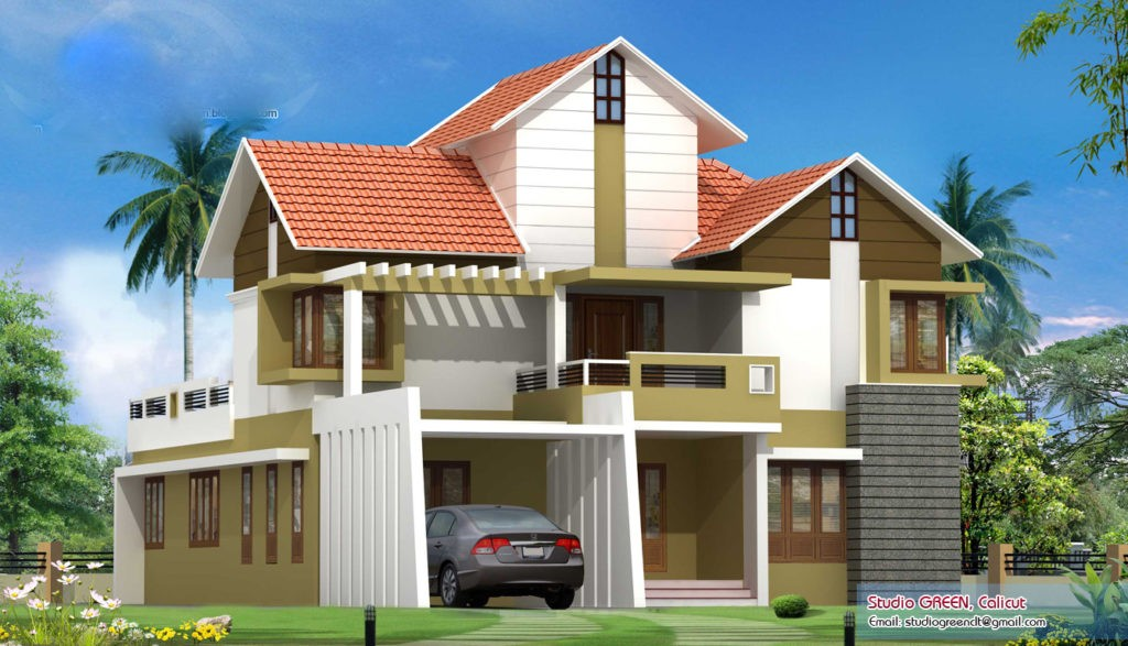 2928 Square Feet 4 Attached Bedroom Double Floor Sloping Roof Home Design and Plan