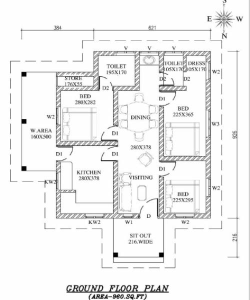 960 square feet 3 bedroom low budget kerala style home for Kerala style low budget home plans