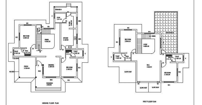 2600 square feet 4 bedroom sloping roof double floor home for 2600 sq ft house plans