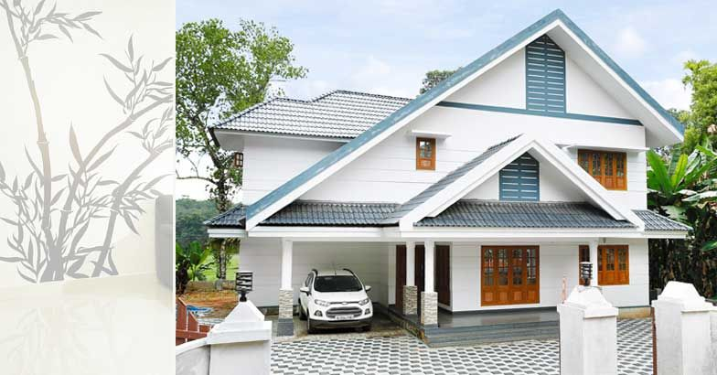 2600 Square Feet 4 Bedroom Sloping Roof Double Floor Home Design and Plan