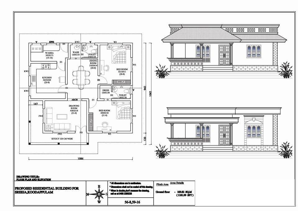 1181 square feet 2 bedroom low budget kerala style home Low budget house plans