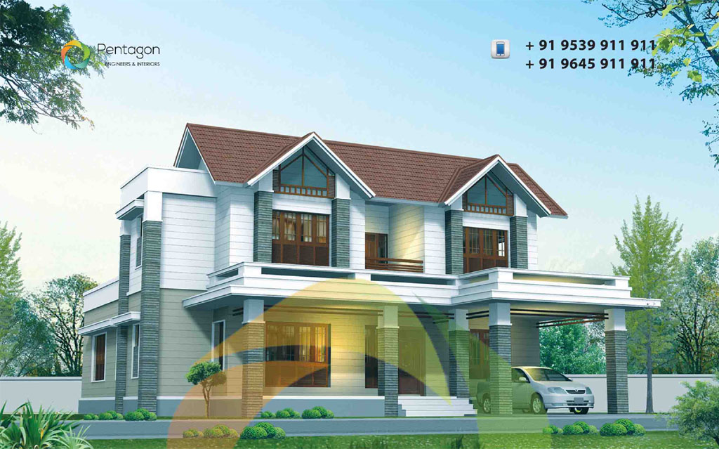 3026 Square Feet 5 Bedroom Modern Sloping Roof Home Design and Plan