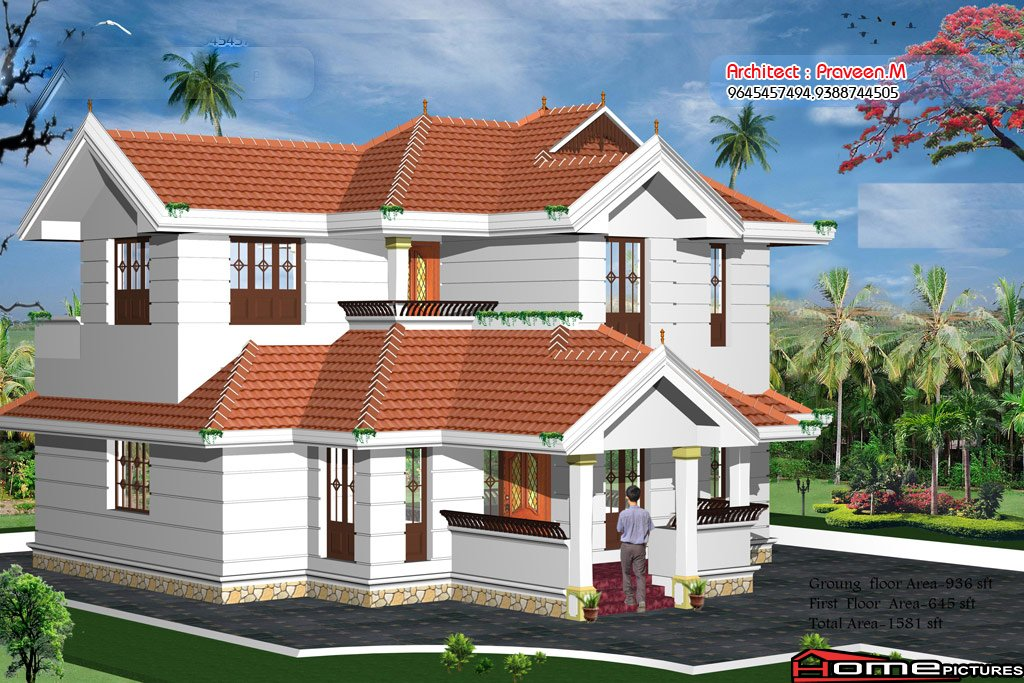 1581 Square Feet 3 Bedroom Kerala Traditional Style Home Design and Plan