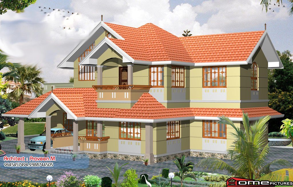 2055 Square Feet 3 Bedroom Double Floor Sloping Roof Home Design and Plan
