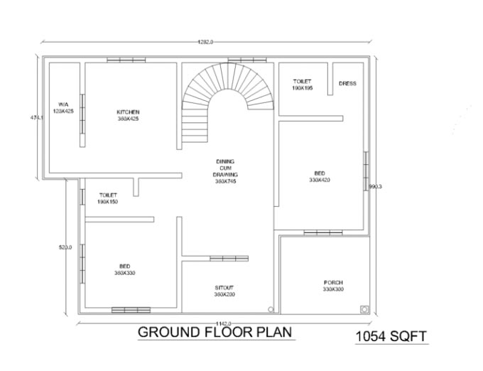 1054 Square Feet 2 Bedroom Low Budget Home Design and Plan - Home ...