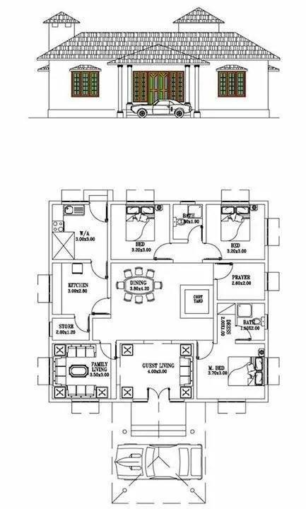 1124 Square Feet 3 Bedroom Low Budget Traditional Home Design and Plan