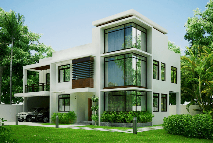 2600 Square Feet 5 Bedroom Contemporary Double Floor Home Design and Plan