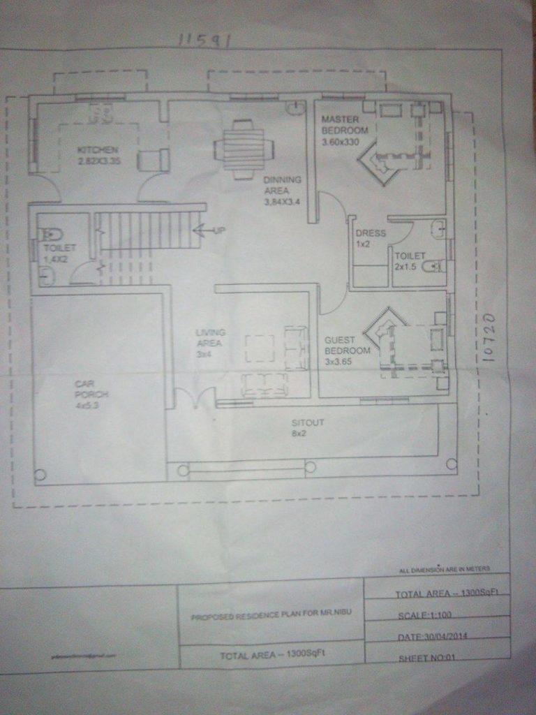 1300 Square Feet 2 Bedroom Low Budget Home Design and Plan