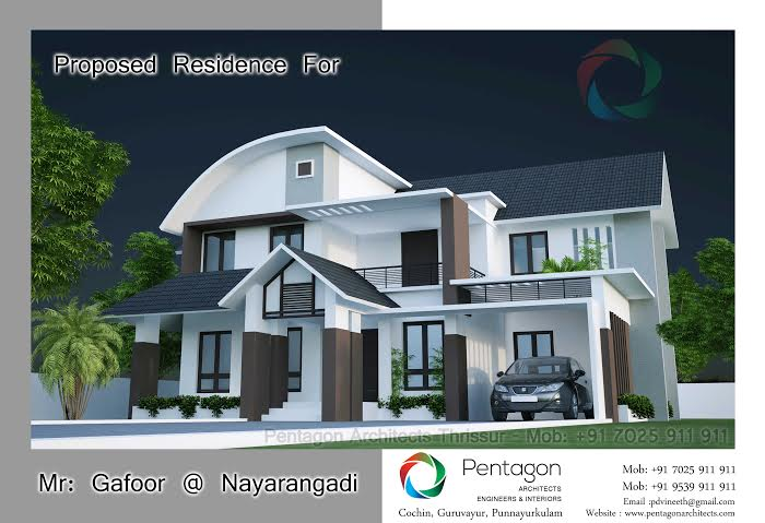 3468 Square Feet 4 Bedroom Modern Sloping Roof Home Design and Plan