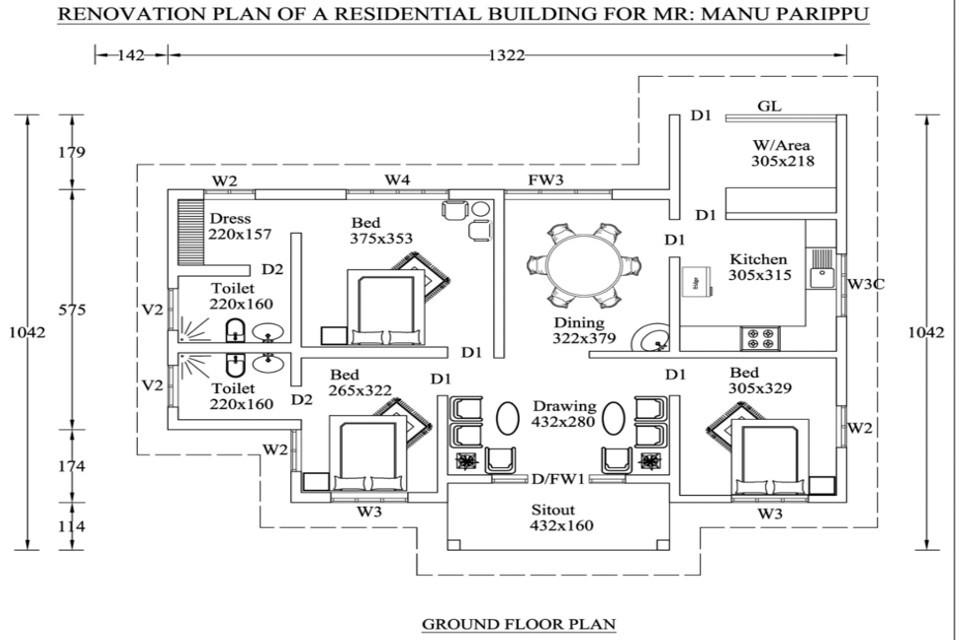 1400 Square Feet 3 Bedroom Low Budget Single Floor Home Design For 17 Lacks