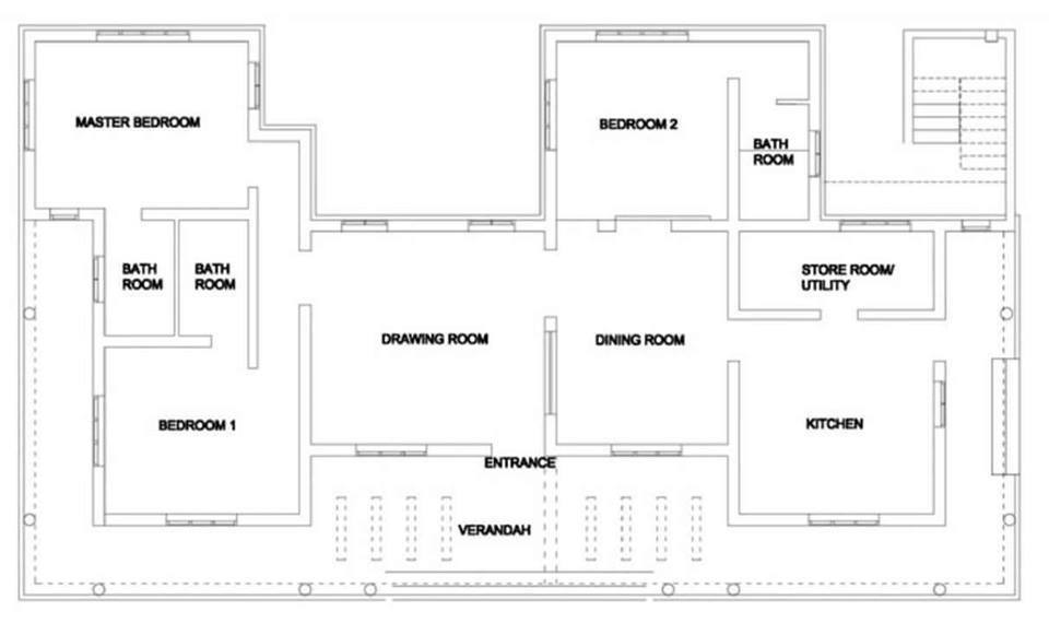 1500 Square Feet 3 Bedroom Single Floor Kerala Traditional Style Home Design and Plan