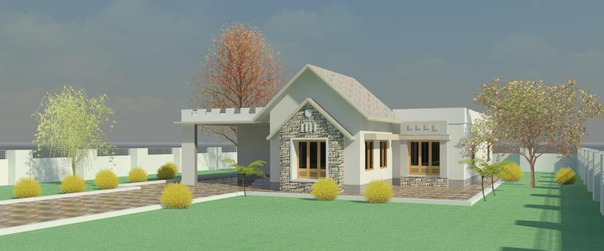 1000 Square Feet 3 Bedroom Single Floor Home Design With