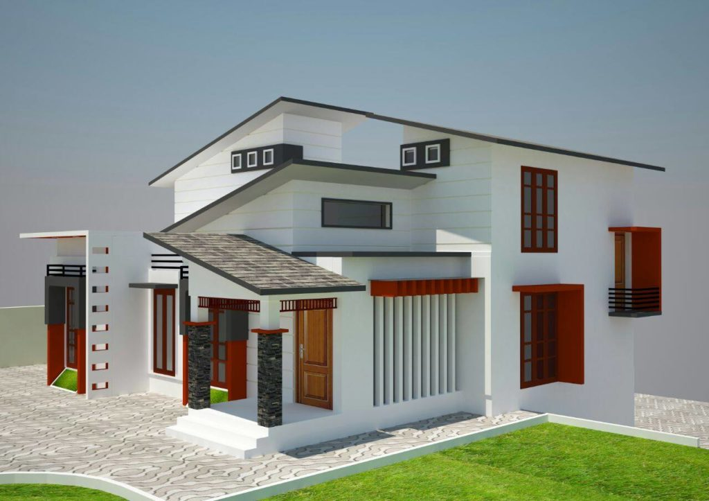 Low budget kerala home design with 3d plan 2 1024x723 for Home plan kerala low budget